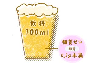 飲料100ml 糖質2.5g以下 糖質0.5g未満